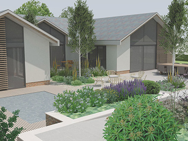 Newdigate Surrey large contemporary garden design for new build house
