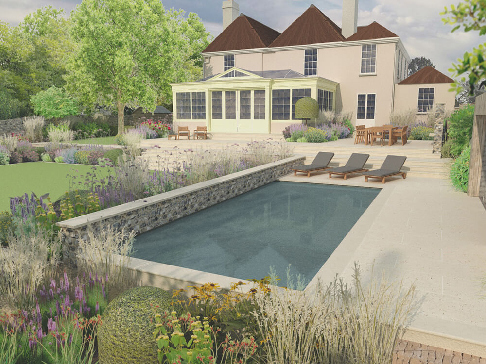 Sussex Ditchling large contemporary family garden with swimming pool