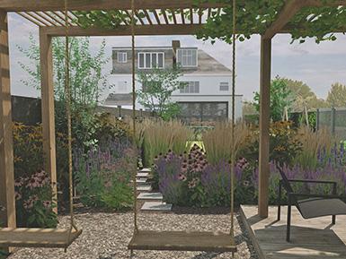 West Wickham contemporary family garden design with pergola swing